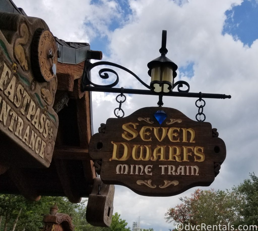 sign for the Seven Dwarfs Mine Train