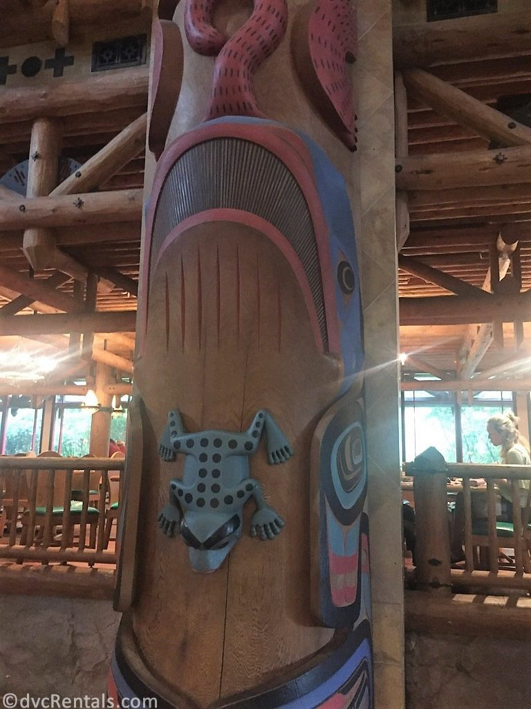 close up shot of totem pole at Disney's Wilderness Lodge