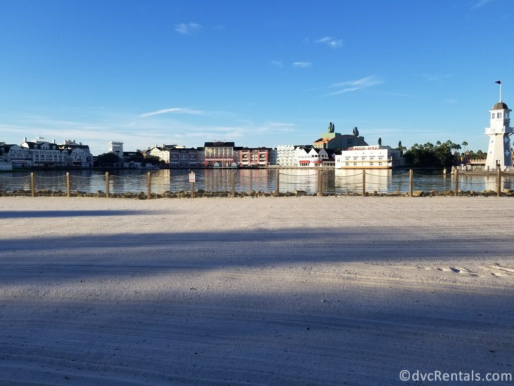 View of Disney's Boardwalk Villas from the beach at Disney's Beach Club Villas