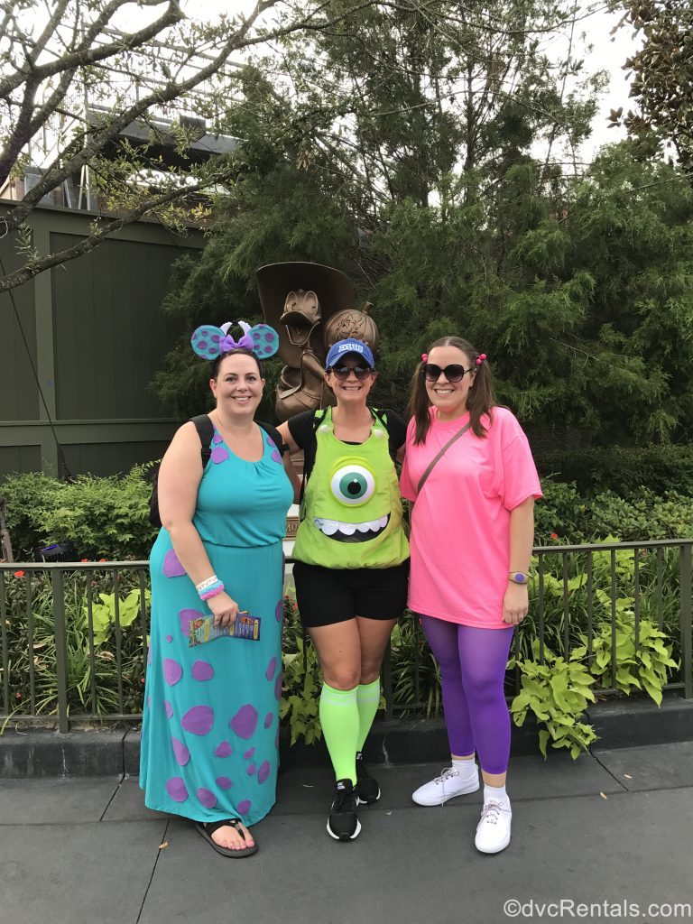 Team members Stacy, Melissa and Jane dressed up for a Mickey's Not So Scary Halloween Party