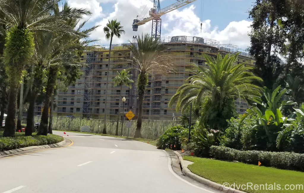 exterior construction shot of Disney's Riviera Resort with 9 stories built