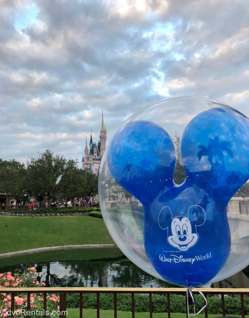 Disney Balloon with Cinderella Castle in the background