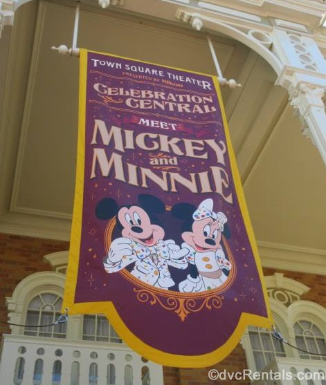 Mickey and Minnie Meet and Greet sign at Town Square Theater