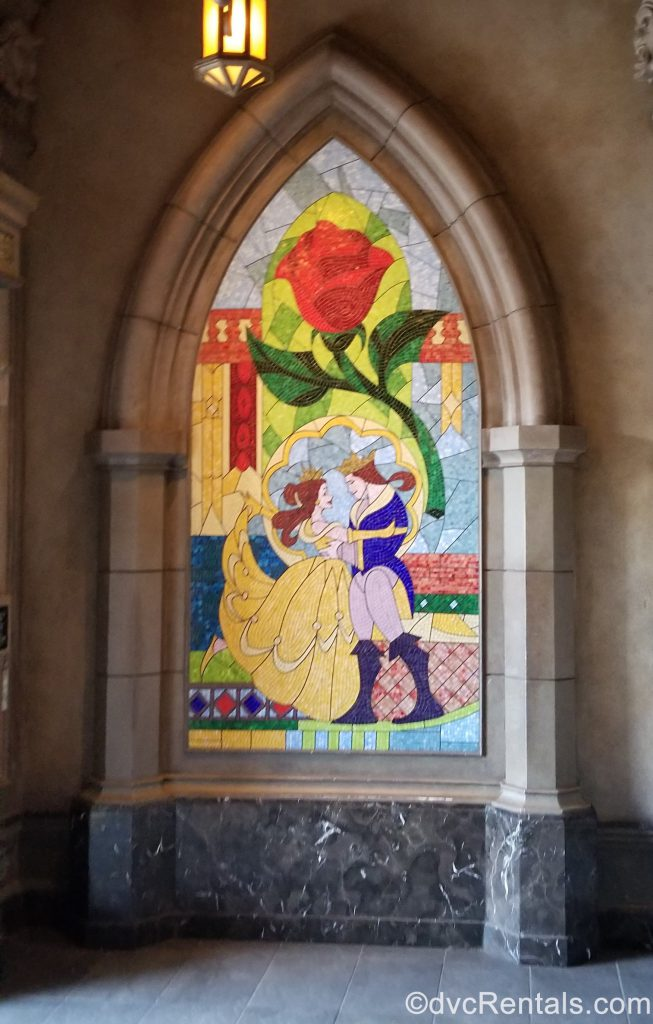 Stained Glass mural of Belle and the prince