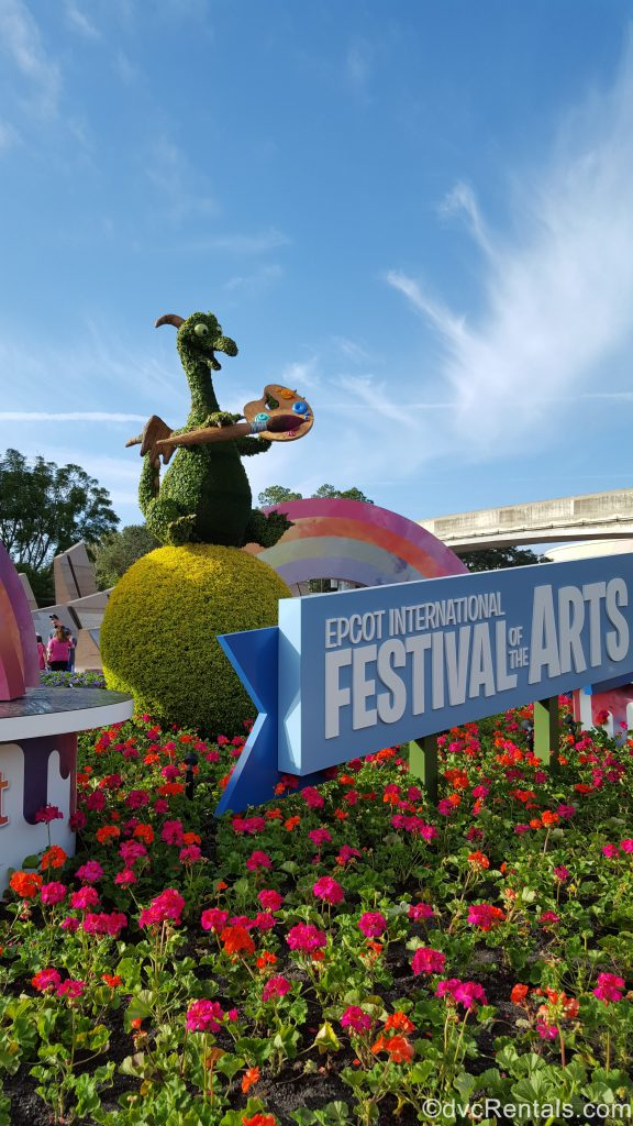 Entrance to Epcot with the Epcot Festival of the Arts signage