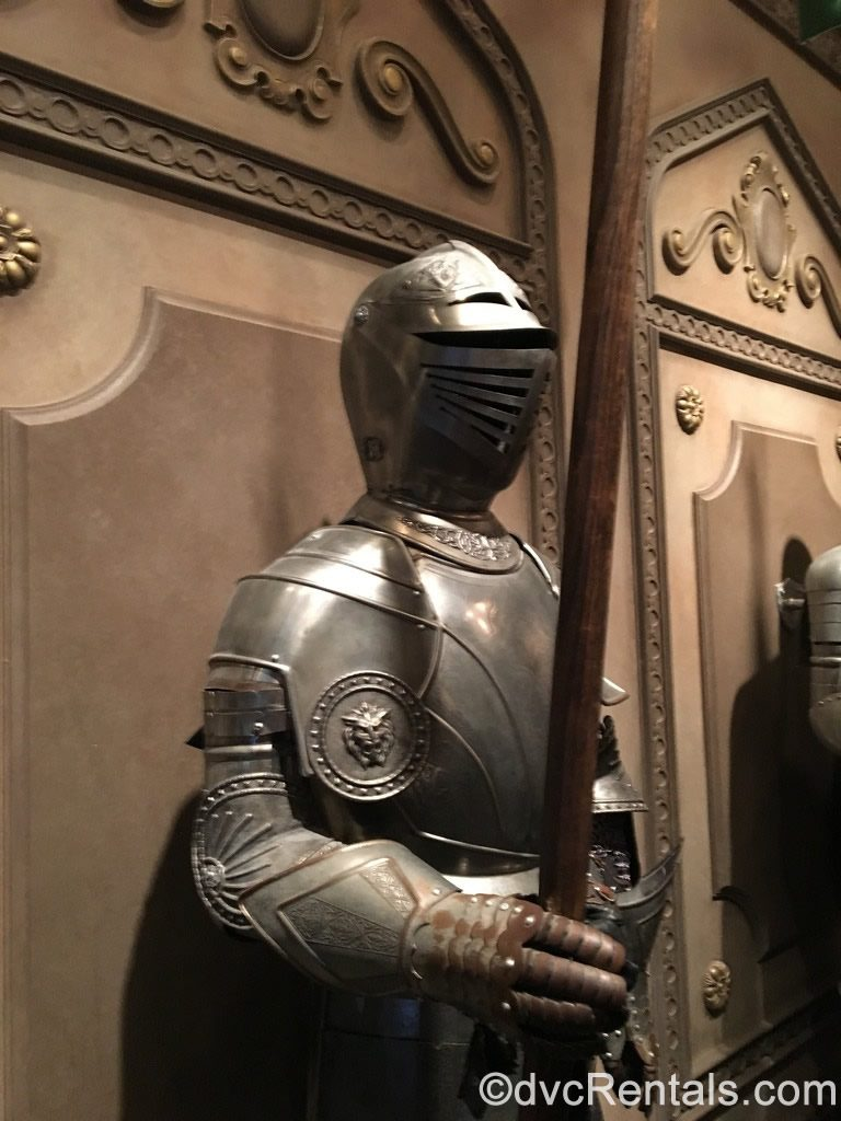 suits of armor at Be Our Guest