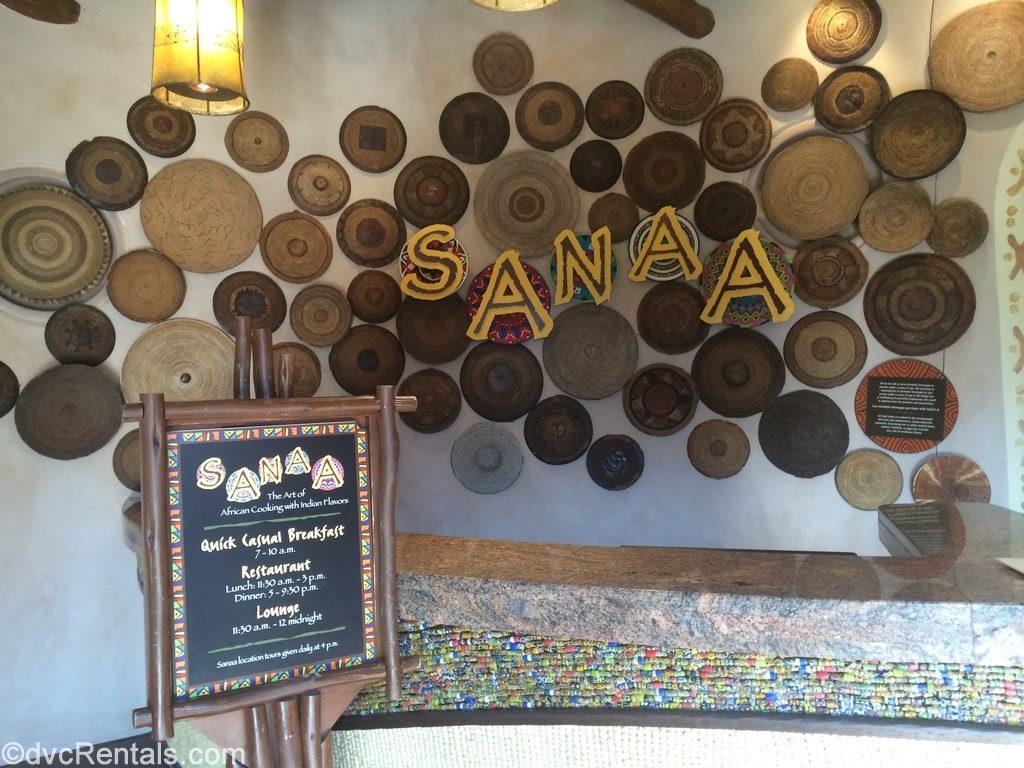 Sign for Sanaa restaurant at Kidani Village