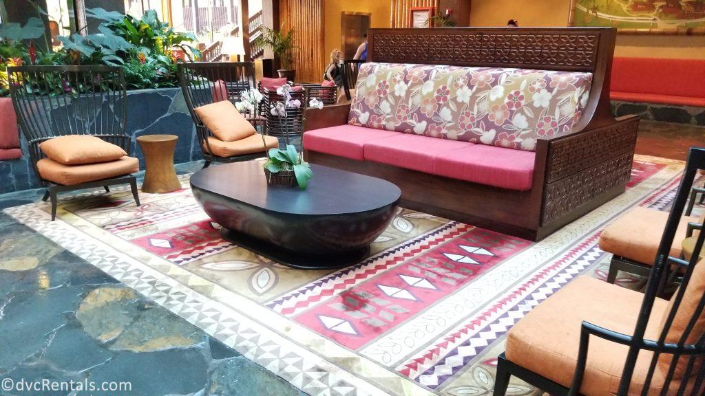 Lobby seating area at Disney's Polynesian Villas & Bungalows