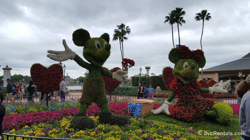 Mickey and Minnie topiaries at Epcot's International Flower and Garden Festival 2019