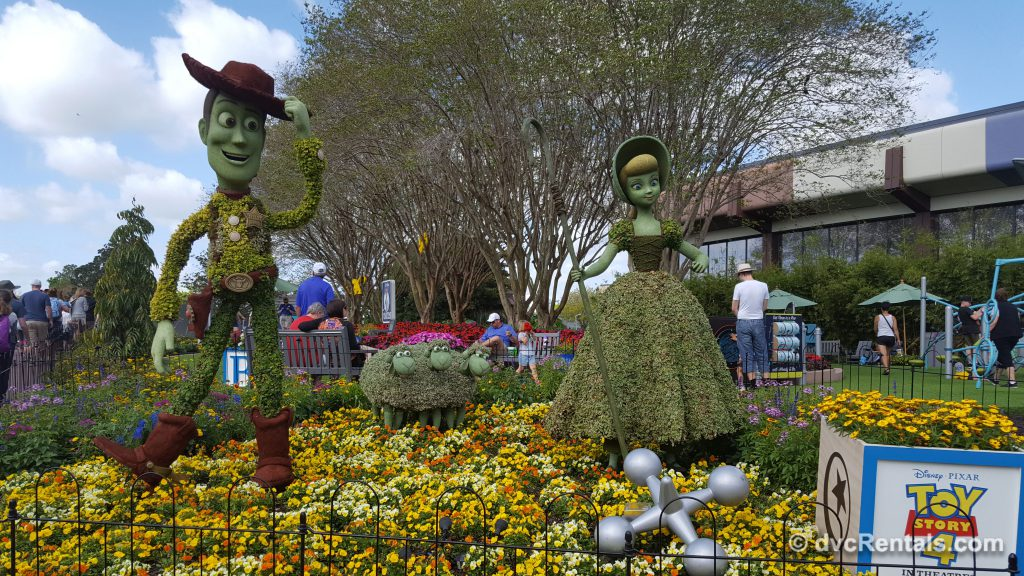Woody and Bo Peep topiaries at Epcot's International Flower and Garden Festival 2019