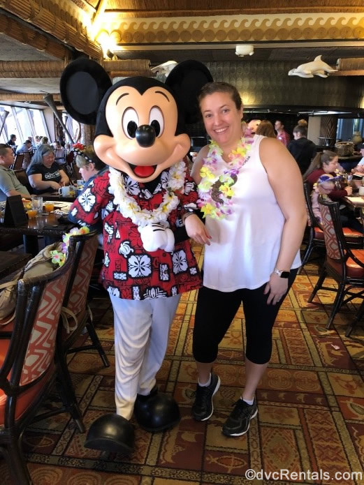 Guest Blogger Emily with Mickey Mouse at 'Ohana