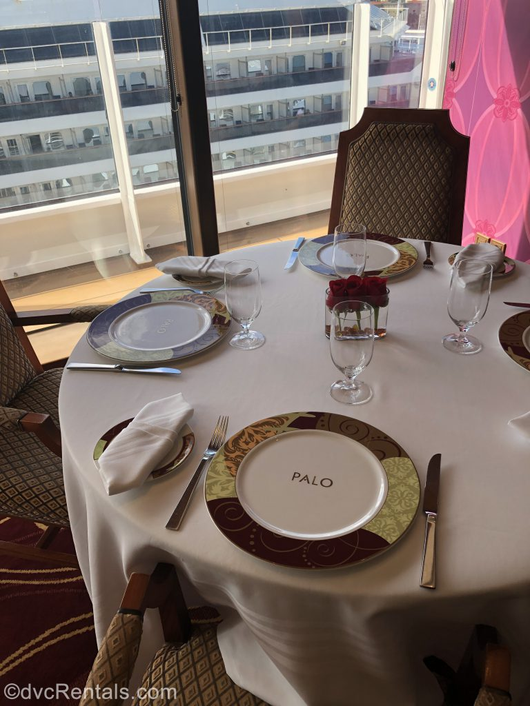 Table setting at Palo Restaurant on the Disney Dream