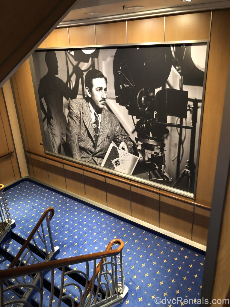 Picture of Walt Disney located on a staircase of the Disney Dream