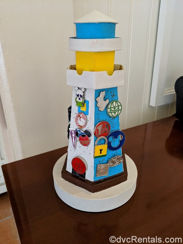 Disney's Beach Club Villas pin board in the shape of a lighthouse