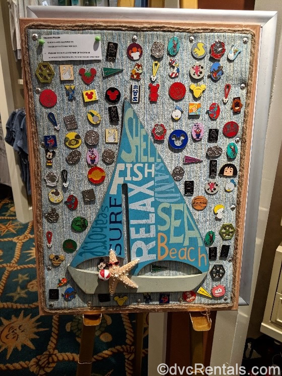 Disney's Beach Club Marketplace pin board with sailboat in the design