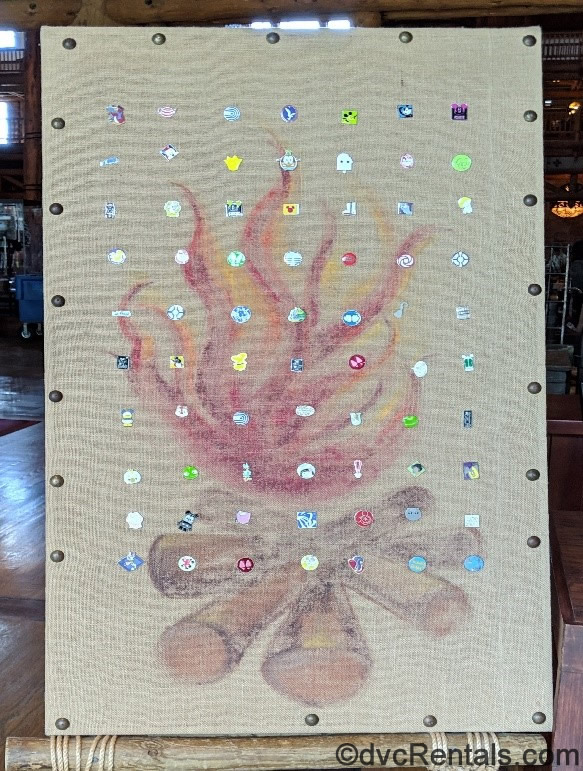 Boulder Ridge Villas at Disney's Wilderness Lodge pin board with a campfire design