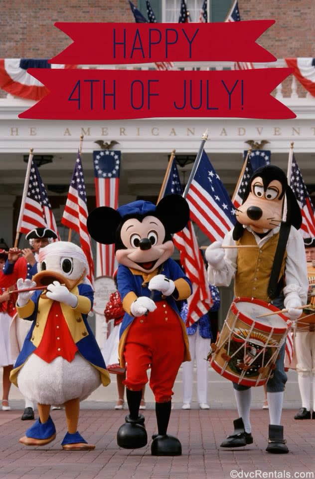 Mickey Mouse, Donald and Goofy dressed for the 4th of July