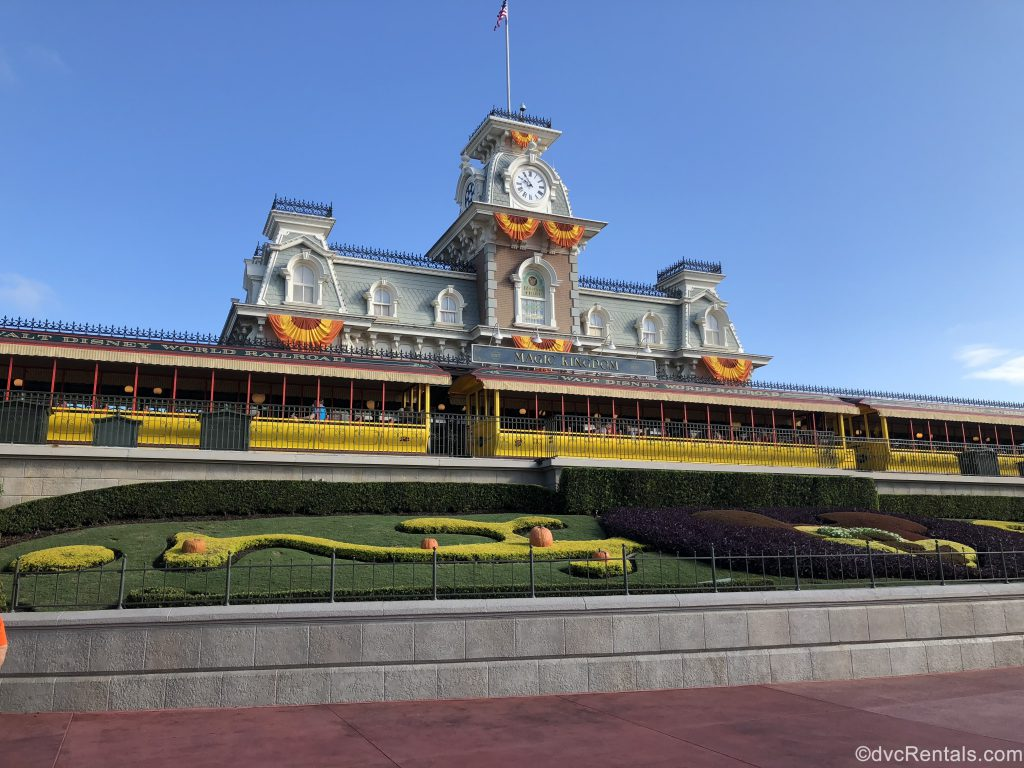 Magic Kingdom Train station decorated for Halloween