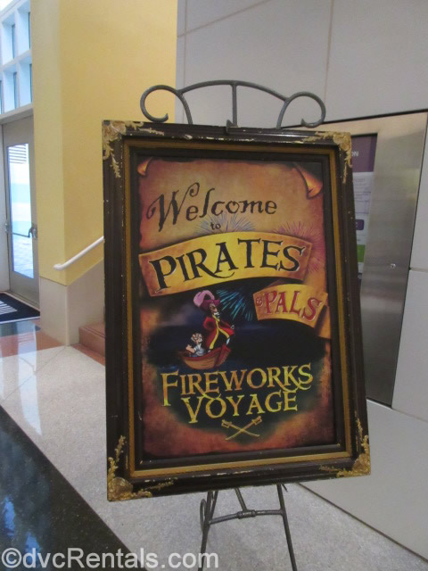 Pirate and Pals Fireworks Dessert Voyage sign
