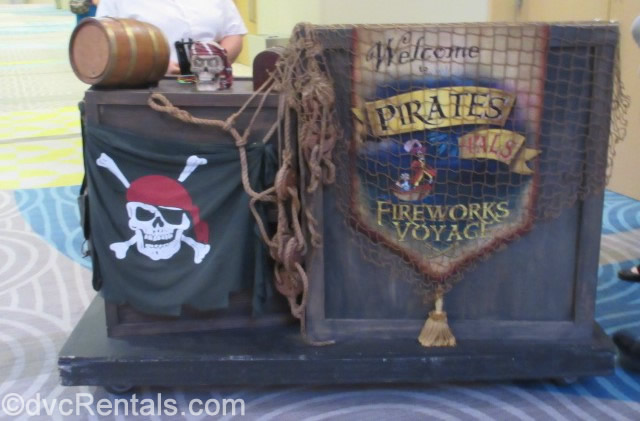 Check-in area for the Pirate and Pals Fireworks Dessert Voyage