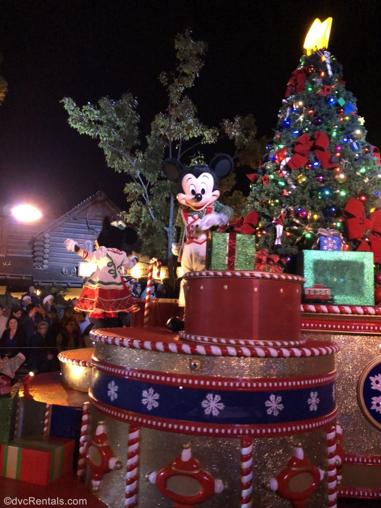 Mickey and Minnie at the Once Upon a Christmastime parade