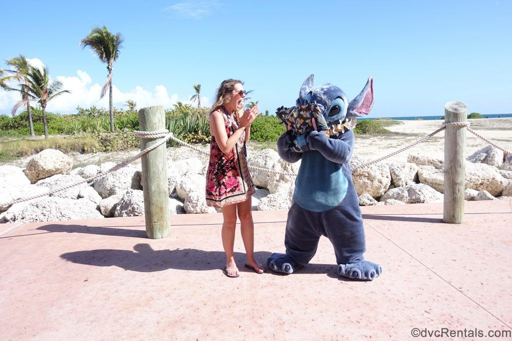 Stitch and Team Member Stephanie S at Castaway Cay