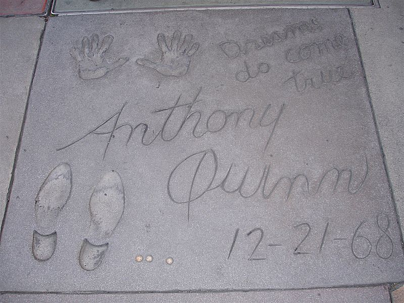 handprints and footprints outside the Chinese Theater in California