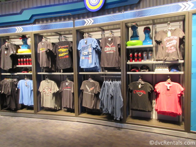 Merchandise from the Test Track store at Epcot