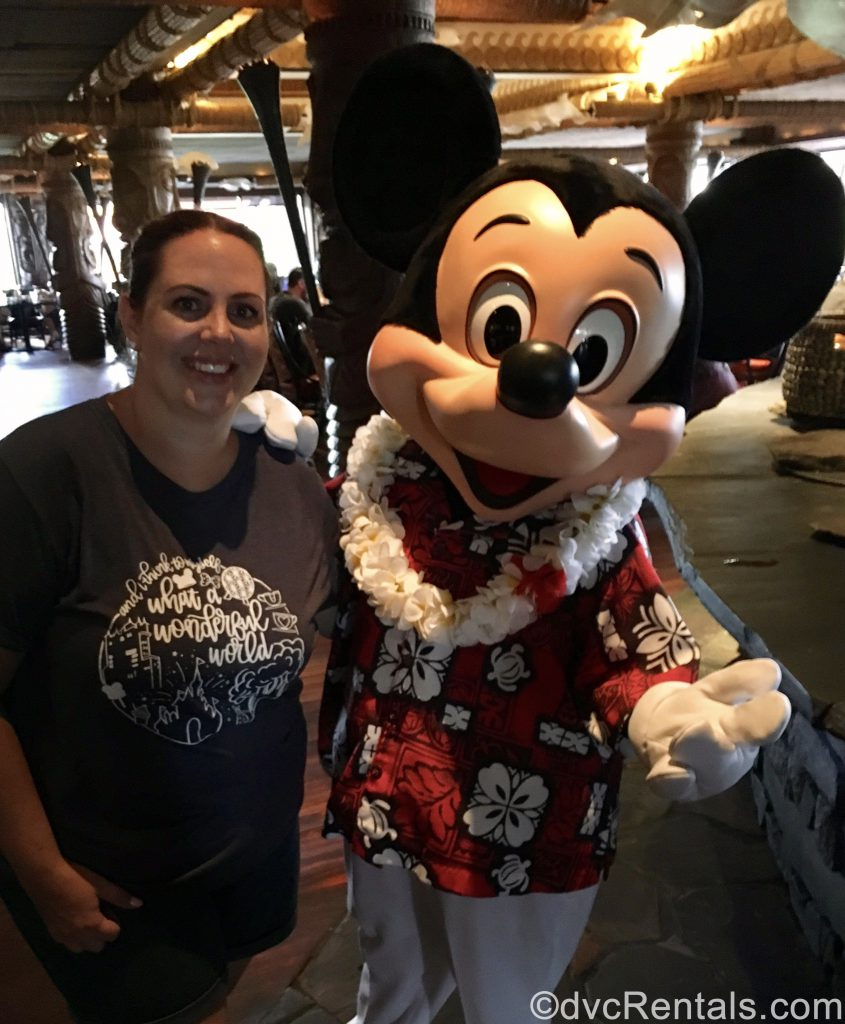 Team Member Stacy with Mickey Mouse at 'Ohana Restaurant
