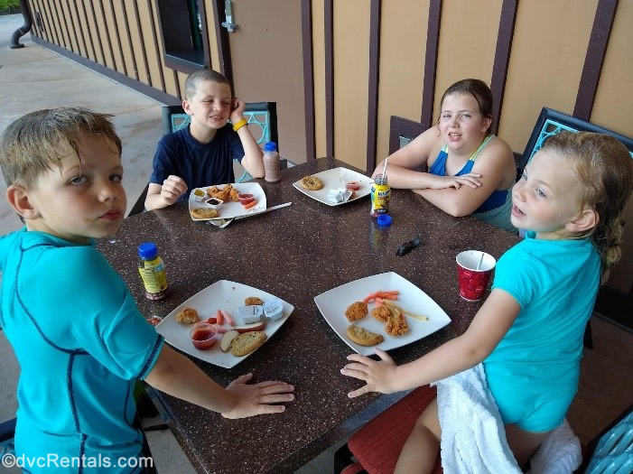 Guest blogger's children eating their quick-service meal