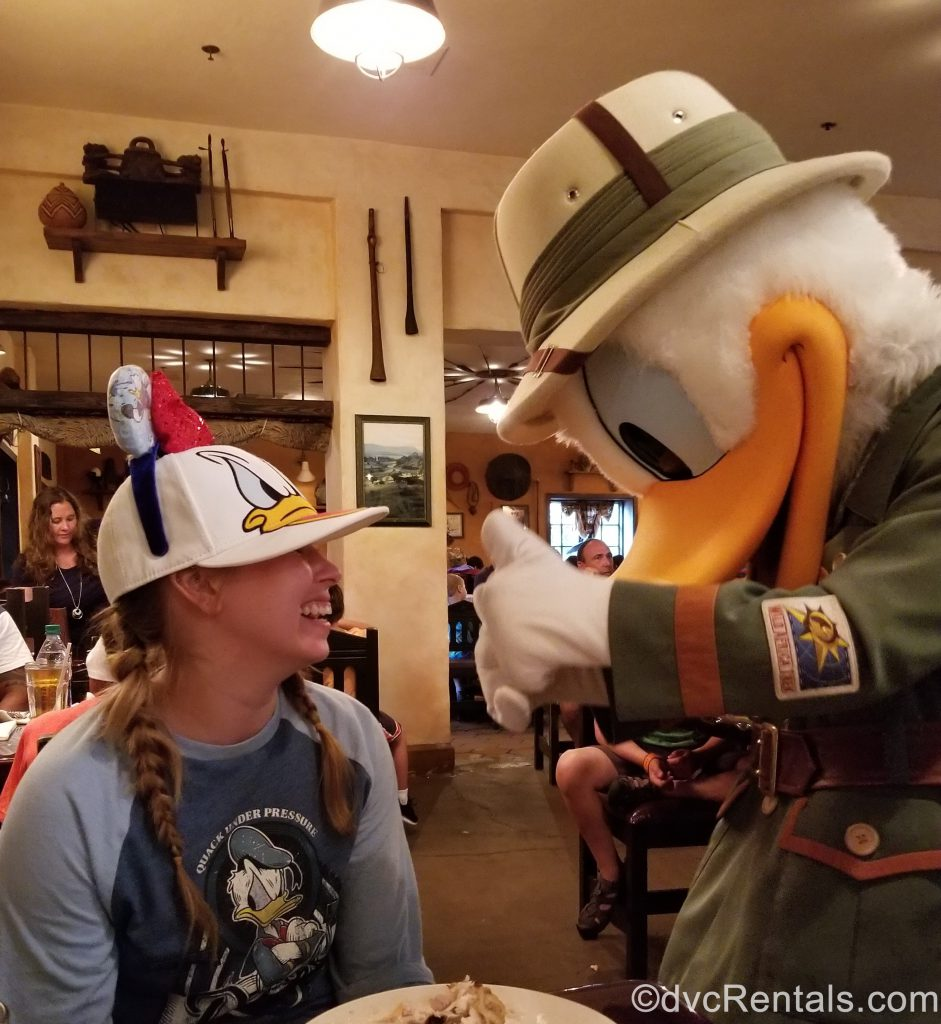 Team Member Ashley J. meeting Donald Duck at Tusker House