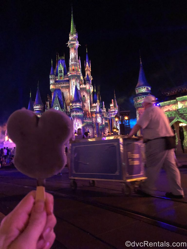 Mickey Ice Cream Bar in front of Cinderella Castle