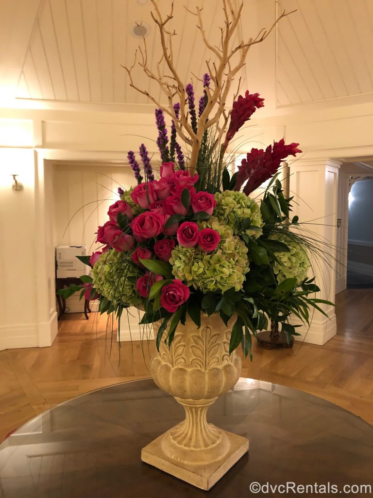 Flower arrangement in the lobby of Disney's Beach Club Villas