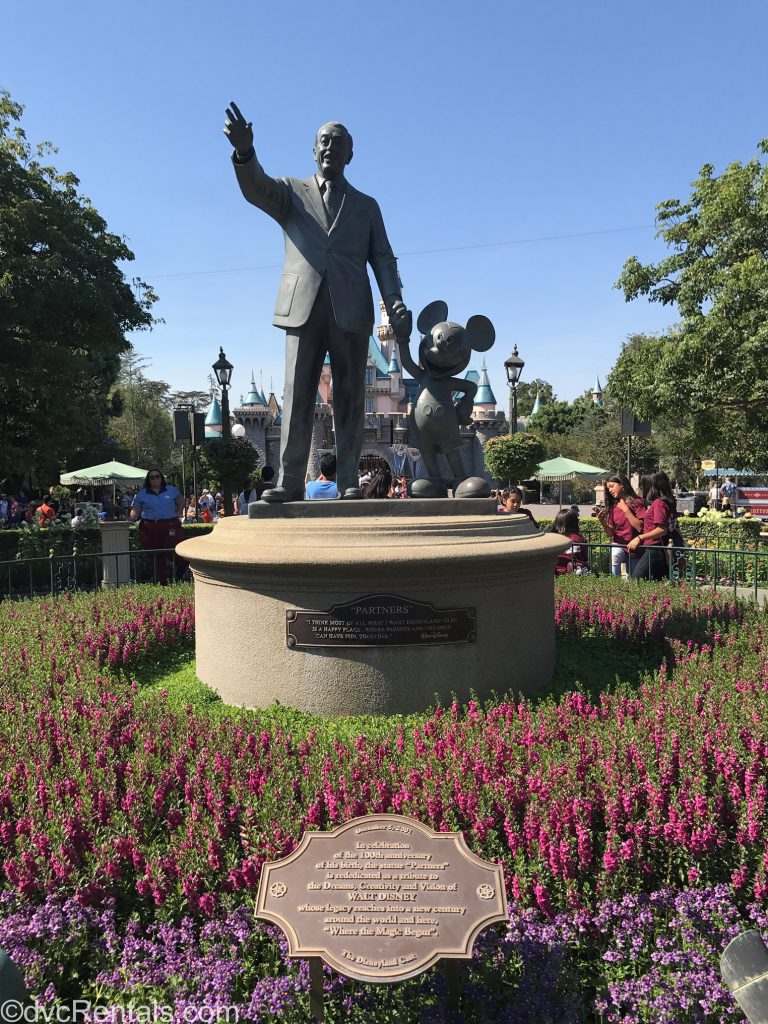 Walt Disney and Mickey Mouse Partners statue at Disneyland