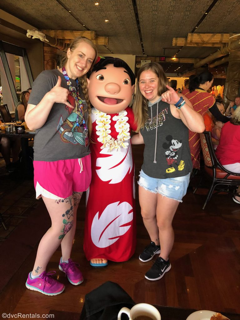 Team Members Ashley J. and Chelsey with Lilo at 'Ohana Restaurant