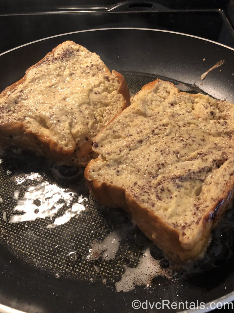 Tonga Toast in the skillet