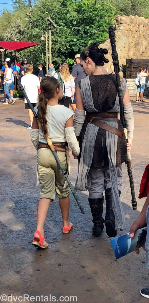 Rey with guest at Black Spire Outpost