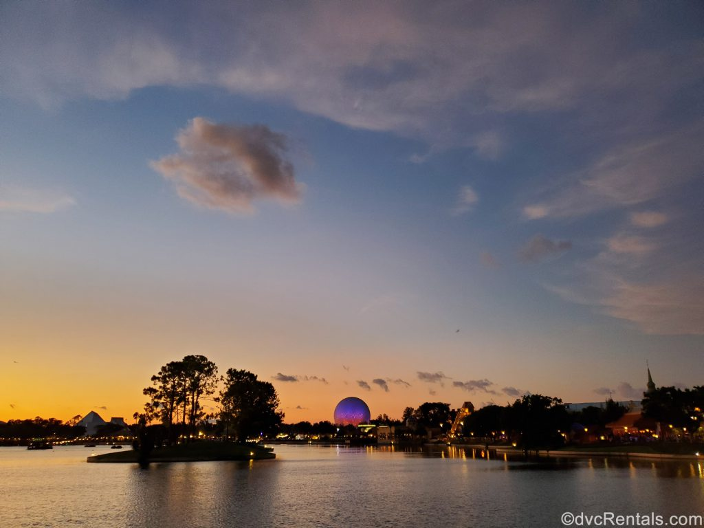 Epcot geosphere at night