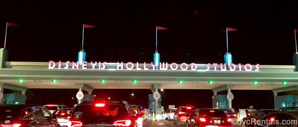 Disney's Hollywood Studios sign with cars entering for the opening of Star Wars Land