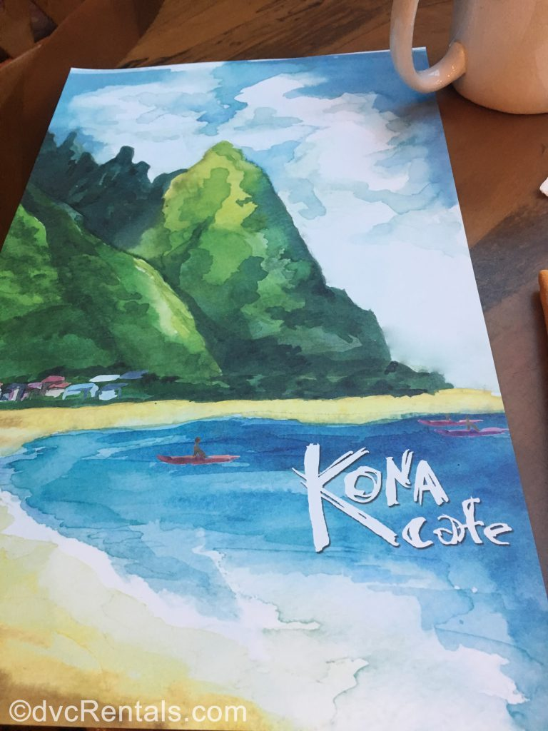 Kona Café Menu at Disney's Polynesian Villas & Bungalows