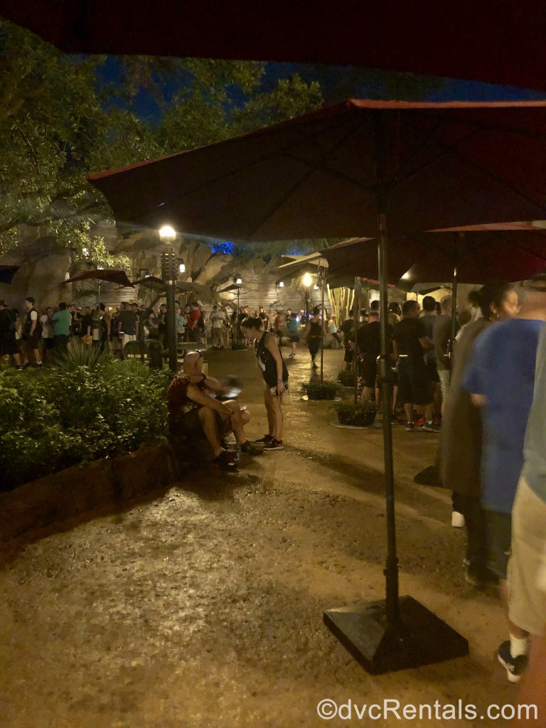 queue of people for Smugglers Run at Disney's Hollywood Studios
