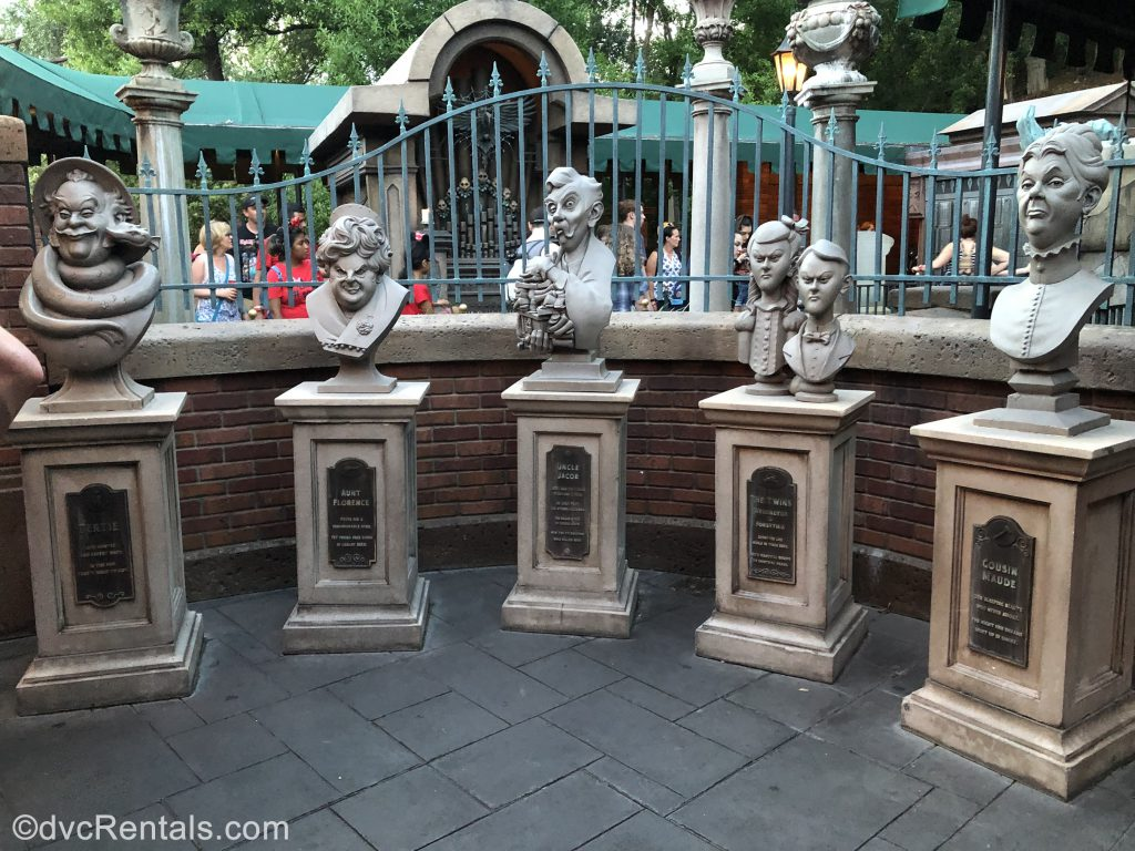 Tombstones in queue for the Haunted Mansion