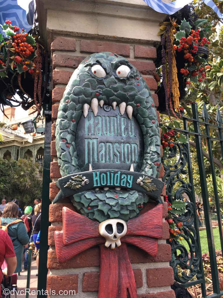 Disneyland Haunted Mansion sign with Nightmare Before Christmas update