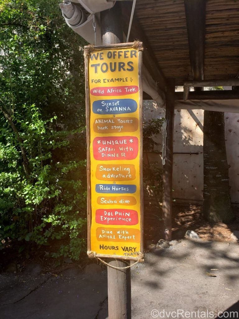 List of possible tours at Disney's Animal Kingdom