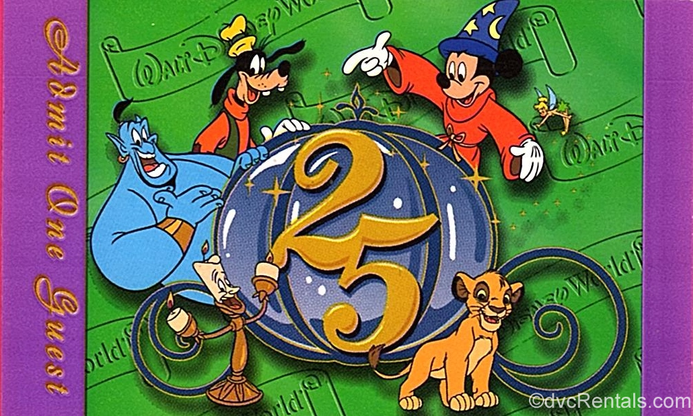 Paper park ticket for WDW's 25th Anniversary