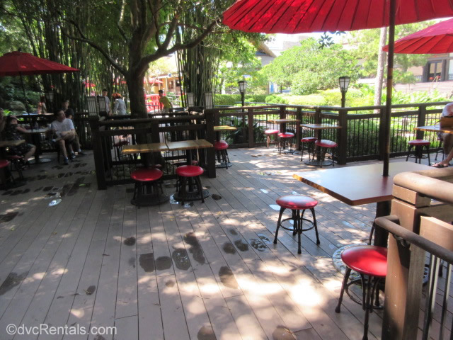 Outdoor seating area at Katsura Grill