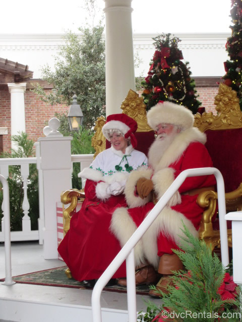 Santa and Mrs. Clause at the American Pavilion in Epcot