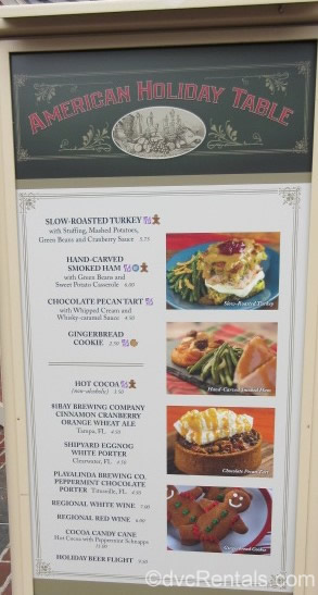 Menu of food options at the Epcot International Festival of the Holidays