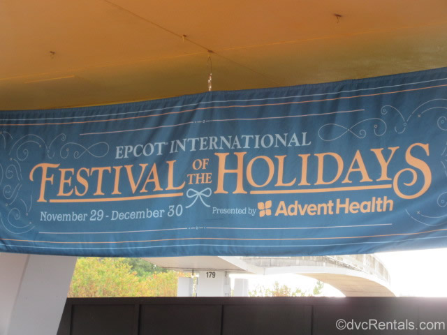 Signage for the Epcot International Festival of the Holidays