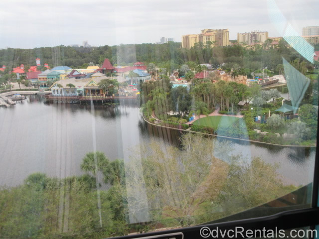 View of Caribbean Beach Resort from a Skyliner gondola